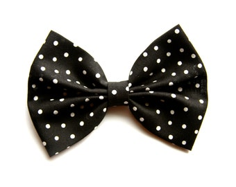 Katie Hair Bow - Black and White Polka Dot Hair Bow with Clip