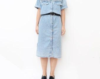 Vintage light blue 80s oversized denim dress / women short sleeve washed out