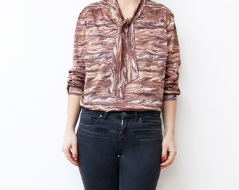 Vintage bow tie brown women blouse / earth tones zig-zag