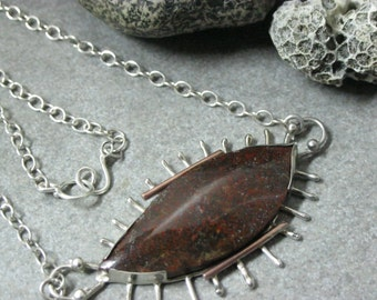 Red Dinosaur Bone Necklace and Jewelry, Large Dinosaur Bone Silver Necklace