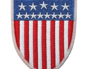 Smaller American National Flag United States USA Shield Badge Iron On Applique Patch