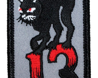 """Unlucky #""""13"""" Number Thirteen & Black Cat Bad Luck Superstition Misfortune Iron On Applique Patch"""