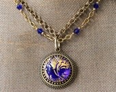Cobalt Blue Glass Necklace beaded, Brilliant Cobalt Blue with pure Gold details, Czech Glass Necklace, Button Jewelry by veryDonna