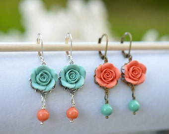 Dusty Mint and Coral Rose Earrings, Coral and Green Mint Flower Earrings, Coral and mint Bridesmaid Jewelry