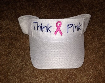 "Embroidered ""Think Pink"" White Mesh Visor"