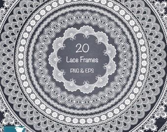 White Lace Frames, Digital Lace Clip Art, Wedding Lace Borders, Digital Frames, White Lace Round Frame - Instant Download