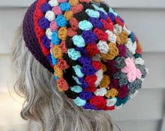 Grany Style Multi Color Hat Crochet Slouchy Hat Womens Hat Winter Hats Winter Accessories