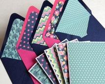 Set of 5 // Handmade Stationery Set // Blank Note Cards w/ Matching Envelopes // Pink & Navy Envelope // Blank Stationery // Floral Envelope