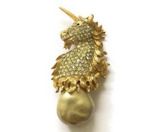 Vintage Kenneth Jay Lane K.J.L. Rhinestone Unicorn with Baroque Pearl Drop Brooch