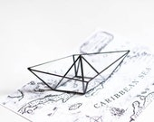 Glass paper boat. Stained glass paper ship. Origami boat display. Origami ship. Stained glass ring holder. Wedding ring holder. Proposal