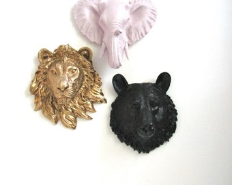 Set of 3 ANY color/color combination: Choose from- 1 small bear, 1 small wolf, 1 small zebra, 1 small lion, OR 1 small elephant Faux Heads