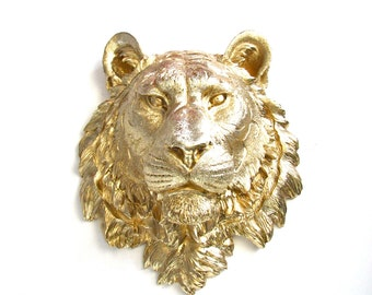 Faux Taxidermy Large Tiger Head wall mount home decor:  Tommy the Tiger in gold