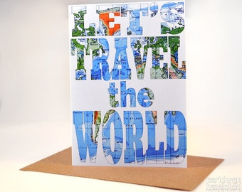 Let's Travel the World Map Greeting Card, Blank Card, Birthday Card, Thank You Card, Anniversary Card