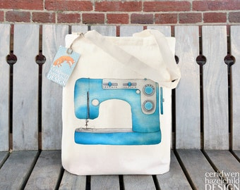 Sewing Machine Tote Bag, Reusable Shopper Bag, Cotton Tote, Ethically Produced Shopping Bag, Eco Tote Bag