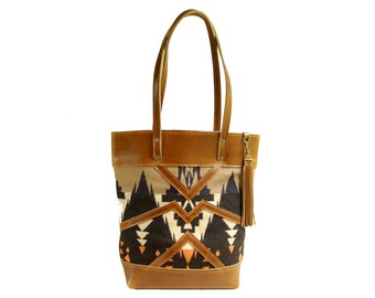 The Buena Vista Social Bag - leather and wool market tote