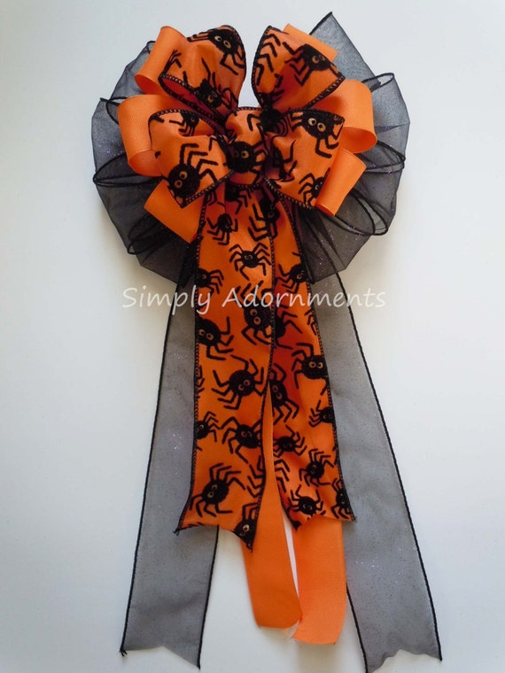 Orange and Black Halloween Wreath Bow Black Spider Orange Halloween Wreath Bow Trick or Treat Halloween Bow