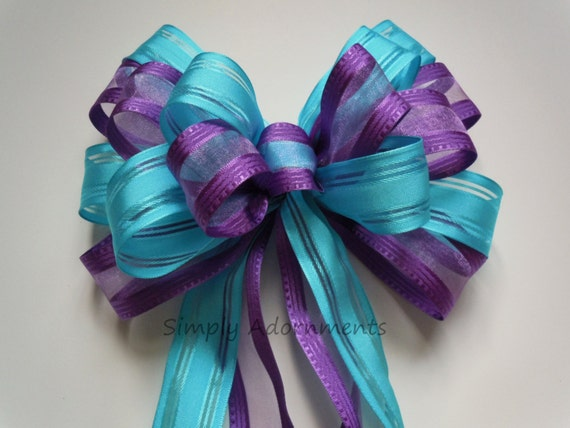 Purple Blue Wedding Pew Bow Turquoise Purple Baby Shower Decoration Bow Peacock Wedding Bow Bridal Shower Decoration Bows Gift Wrap Bows