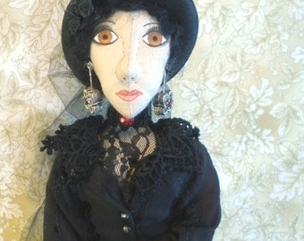 Ophelia 19 inch tall goth emo in black dress, black jacket, black hat, red and black jewelry