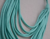 Turquoise Multi Strand Jersey Knit Long Necklace Tshirt Necklace