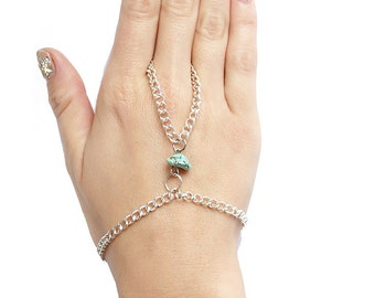 Turquoise & Silver chain Slave Bracelet with charm ring Boho Bohemien