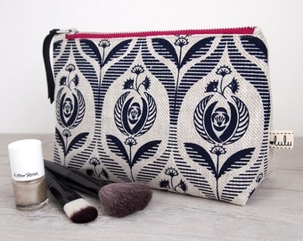 Large makeup bag with Art Deco print/ navy cosmetic bag