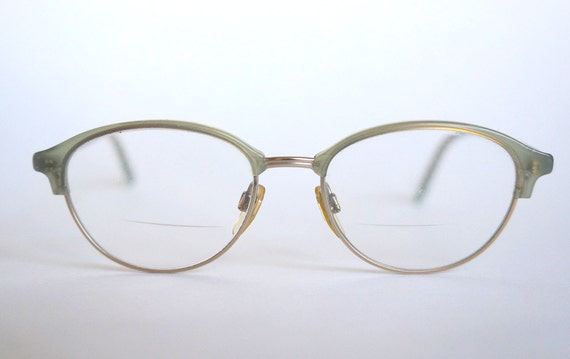 Plastic Frame Glasses Crooked : Vintage Giorgio Armani Ladies Frosted Gray Gold Lense Frames