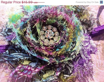 50% OFF SALE Peacock Headband, Peacock Wedding, Peacock Bride, Shabby Chic Hair Clip, Flower Hair Clip, Purple