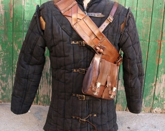 The Witcher Geralt of Rivia Belt Bag Baldric Replica with potions for Larp, Cosplay and Costume