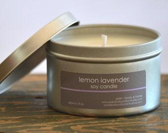 Lemon Lavender Soy Candle Tin 8 oz. - lemon candle - lavender candle - lemon lavender - fresh scent candle - womens candle