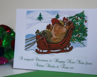 Set of 8 Personalized Christmas Cards 'Santa's Sleigh'. Hand Illustrated holiday cards. UK winter cards. Sleigh and gifts