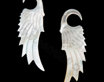 6G Pair Mother of Pearl Shell Gliding Wings Gauged Earring Plugs 6 gauge Organic Body Piercing Jewelry