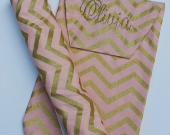 Baby Girl Large Changing Pad and Diaper Clutch // Gold and Pink Chevron Diaper Clutch and Changing Pad // Waterproof Changing Pad //
