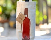 Wine Bag, Screen Printed Canvas Wine Tote