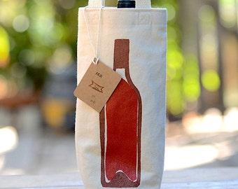 Wine Bag, Screen Printed Canvas Wine Tote