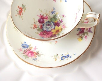 Antique English Bone China Hammersley Teacup and Saucer Tea Party c. 1939 - 1950s.