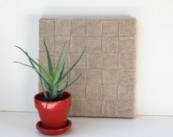 natural woven wall hanging // 12X12 canvas frame // woven wall art // natural felt // felt woven art // weaving wall hanging // hand woven
