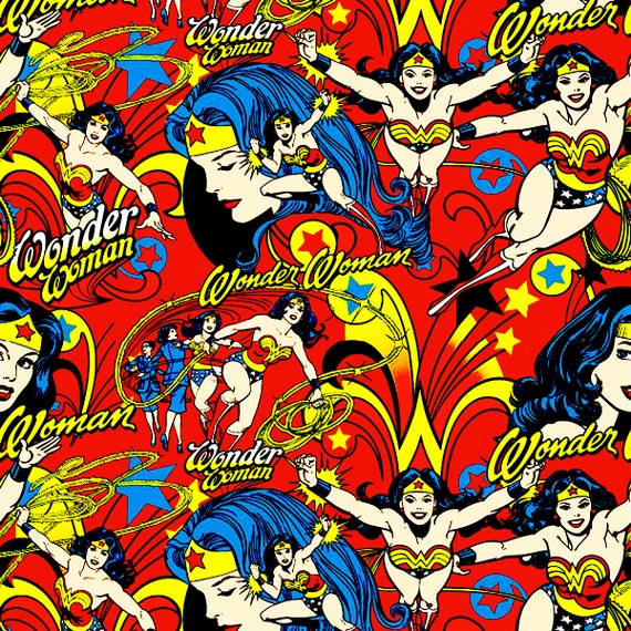 Vintage Wonder Woman Fabric Last 28.5 By Apronbabe On Etsy