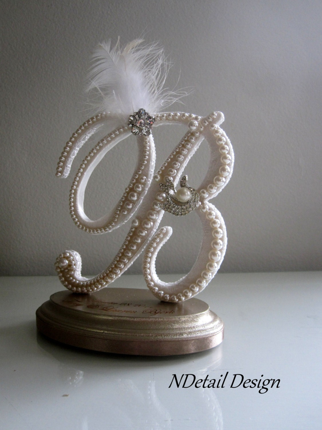 Wedding Cake Topper Monogram B Vintage Ivory Pearls White