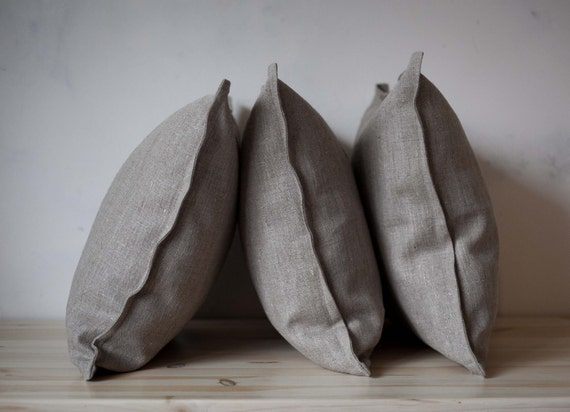 Linen pillow covers gray set of 4 - decorative cases - throw pillows - linen shams -cushion cases for sofa pillows composition set of 4 0012