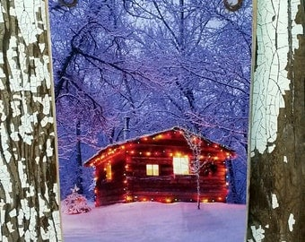 Cabin In Winter At Sunset / Picture Plaque /  Handmade in USA