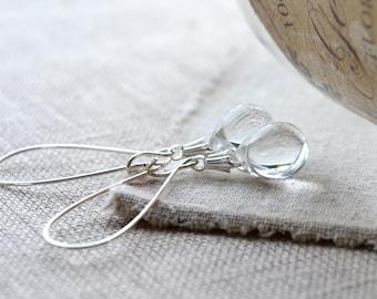 Clear Earrings, Tear Drop Earrings, Clear Glass Earrings, Bead Dangle Earrings, Bridesmaid Teardrop Earrings, Dainty Jewelry, Etsy UK