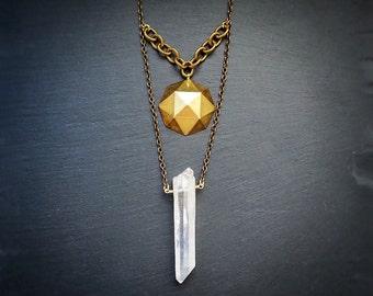Raw Quartz Point Necklace, Angel aura quartz point, Raw brass round faceted dome pendant