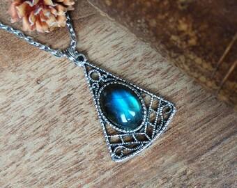 Labradorite and silver filigree triangle necklace, blue flash labradorite necklace, evil eye necklace