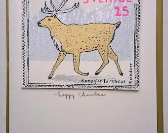 reindeer stamp christmas card
