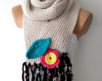 Winter  scarf,Women,Crochet flower scarf,,Knitted Scarf.Loop Scarf,Neck Warmer..Vanilla Hand knit scarves.