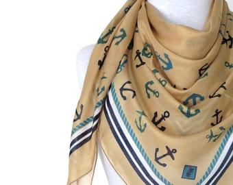 Anchor scarf, mustard flower, Anchor pattern Turkish Yemeni Scarf ..bridal,scarf,authentic, romantic, elegant, fashion, sailor scarf