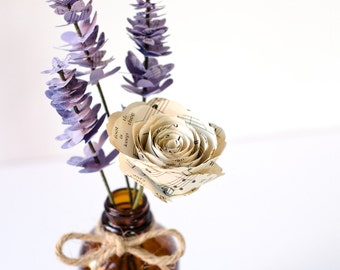 Lavender and Rose Paper Flower Home Decor - Rustic Book Page Flowers in a Brown Bottle Vase