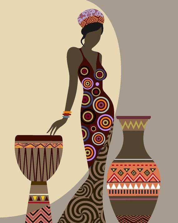 African Woman Art Afrocentric Art African Wall Art by iQstudio