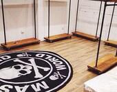 Rustic Industrial Reclaimed Wood Rolling Garment Rack with Top Shelf