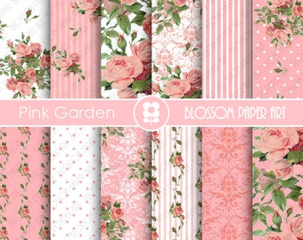 Pink Roses Digital Paper, Shabby Chic Pink Scrapbook Digital Paper Pack, Wedding Roses, Pink, Green - INSTANT DOWNLOAD  - 1870